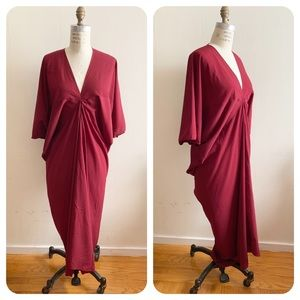 De Philo - V neck bat sleeve draped maxi dress
